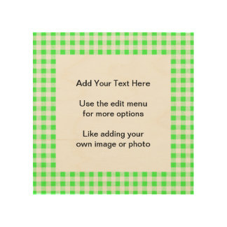 Lime Green White Gingham Pattern Wood Prints