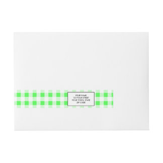 Lime Green White Gingham Pattern Wraparound Address Label