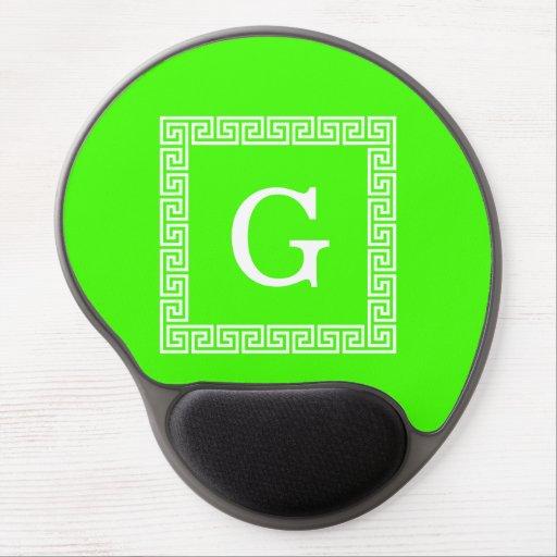 Lime Green, White Greek Key #1 Framed Monogram Gel Mouse Pad