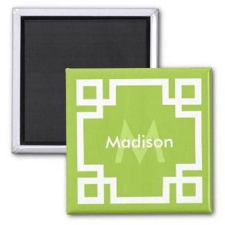 Lime Green White Greek Key Monogram Square Magnet