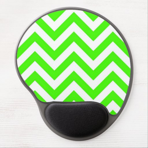 Lime Green White Large Chevron ZigZag Pattern Gel Mouse Mat