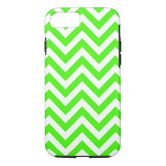 Lime Green White Large Chevron ZigZag Pattern iPhone 7 Case