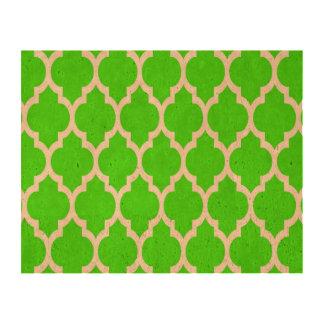 Lime Green White Moroccan Quatrefoil Pattern #4 Queork Photo Print