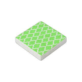 Lime Green White Moroccan Quatrefoil Pattern #4 Stone Magnet