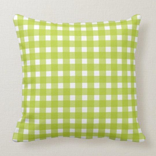 Lime Green & White Plaid Gingham Checks Cushion