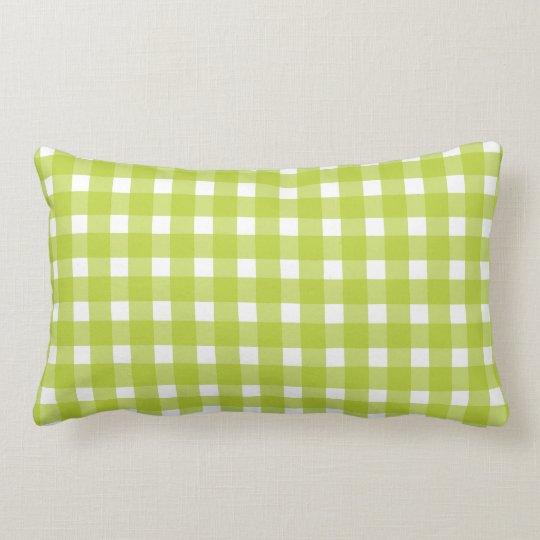 Lime Green & White Plaid Gingham Checks Lumbar Cushion