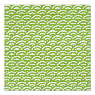 Lime Green White Scale Pattern Poster