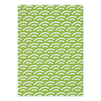 Lime Green White Scale Pattern Posters