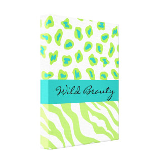 Lime Green & White Teal Zebra & Cheetah Customized Stretched Canvas Print