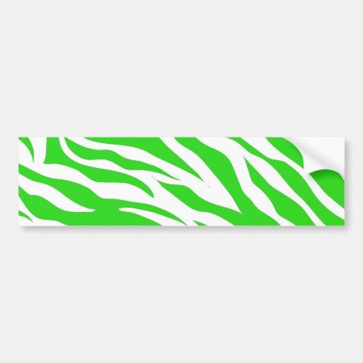Lime Green White Zebra Stripes Wild Animal Prints Bumper Stickers