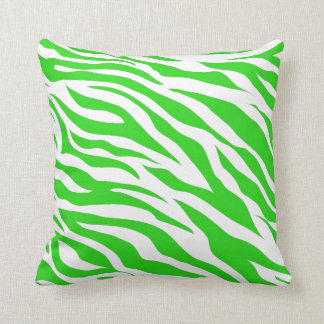 Lime Green White Zebra Stripes Wild Animal Prints Cushion