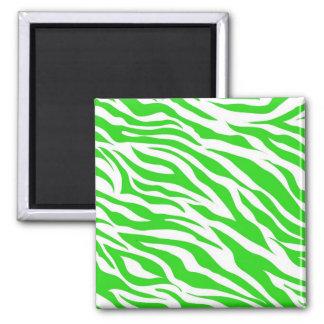 Lime Green White Zebra Stripes Wild Animal Prints Fridge Magnets