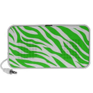 Lime Green White Zebra Stripes Wild Animal Prints Portable Speakers