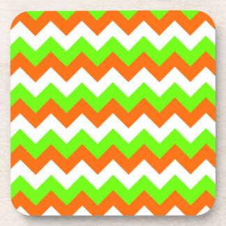 Lime Green White Zigzag Beverage Coasters