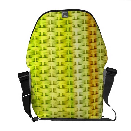 Lime green wicker graphic design commuter bags