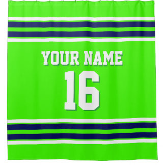 Lime Green with Navy White Stripes Sports Jersey Shower Curtain