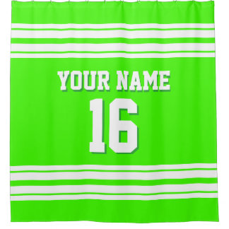 Lime Green with White Stripes Sports Jersey Shower Curtain