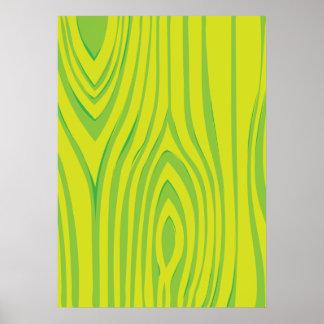 LIme Green Wood Grain Pattern Print
