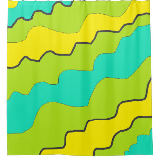 Lime Green, Yellow and Teal Shower Curtain