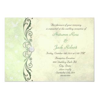 Lime Green Yellow Spring Floral Wedding Reception 13 Cm X 18 Cm Invitation Card