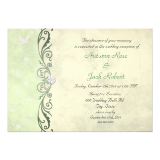Lime Green Yellow Spring Floral Wedding Reception Invites