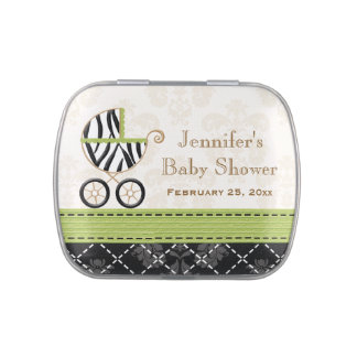 Lime Green Zebra Carriage Baby Shower Favor Jelly Belly Candy Tins