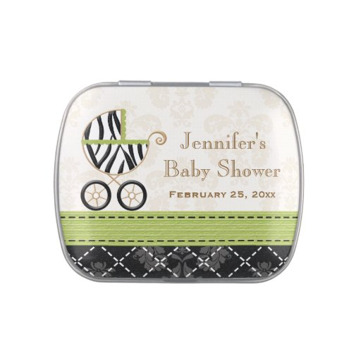 Lime Green Zebra Carriage Baby Shower Favor Jelly Belly Tin