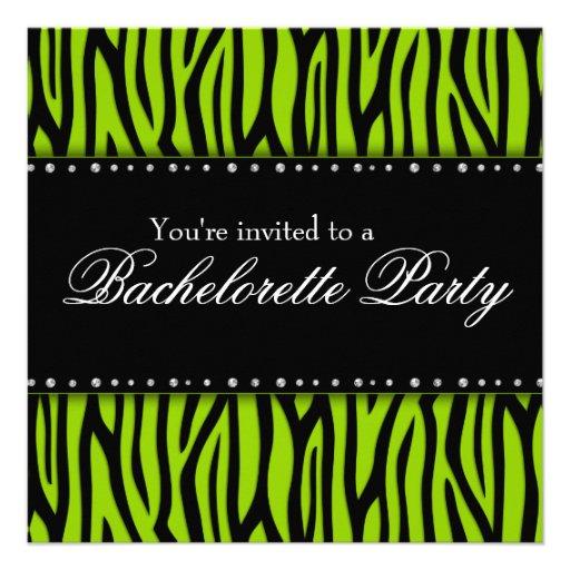 Lime Green Zebra Diamonds Bachelorette Party Announcement