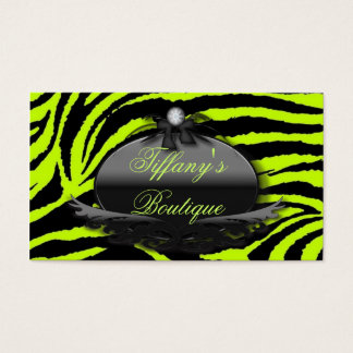 Lime Green Zebra Fashion Boutique  Business Cards