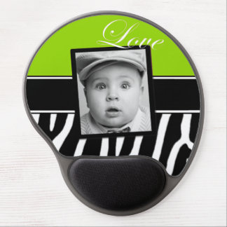 Lime Green Zebra Photo Mousepad Gel Mouse Pads