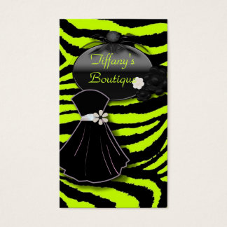 Lime Green Zebra Print Fashion Business Cards