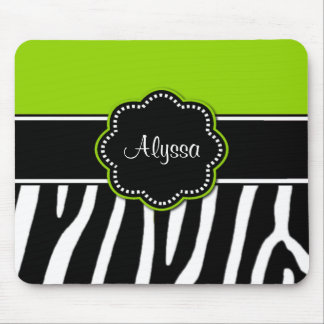 Lime Green Zebra Print Mousepad
