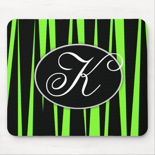 Lime Green Zebra Stripes Monogrammed Mouse Pads
