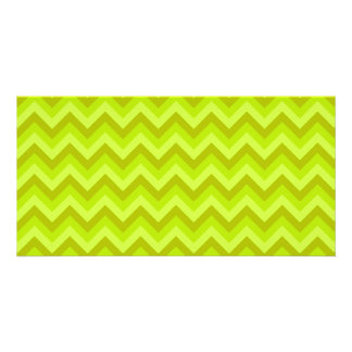 Lime Green Zig Zag Pattern Photo Card