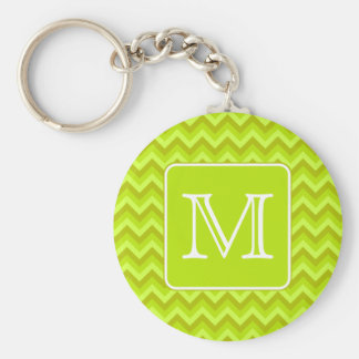 Lime Green Zigzags with Custom Monogram. Key Ring