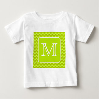 Lime Green Zigzags with Custom Monogram. T-shirts