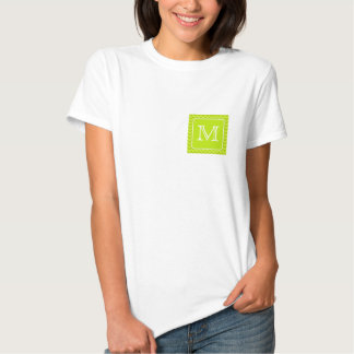 Lime Green Zigzags with Custom Monogram. Tshirt
