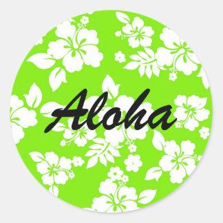Lime Hawaiian Round Sticker