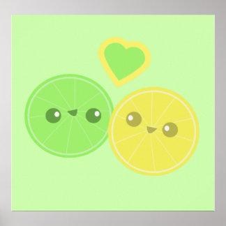 Lime Heart Kawaii poster