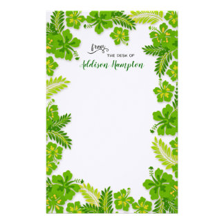 Lime Hibiscus From Desk of Name Writing Paper