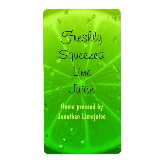 Lime juice bottle label shipping label