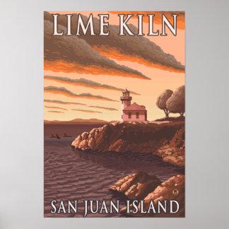 Lime Kiln Lighthouse Vintage Travel Poster