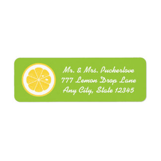 Lime Lemon Heart Return Address Labels Stickers