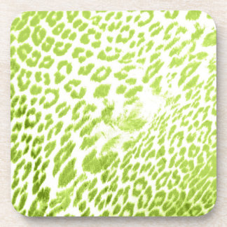 Lime Leopard Print Beverage Coasters