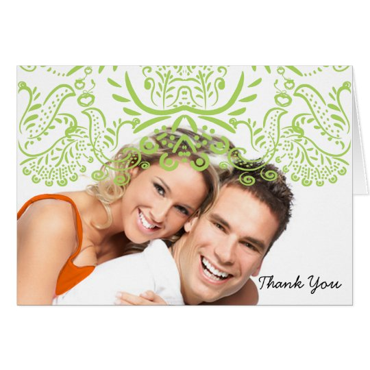 Lime Love Birds Wedding Thank You Note Cards