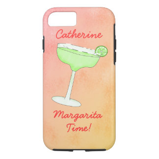 "Lime Margarita Time"" Personalized Name Coral iPhone 7 Case"