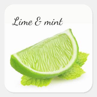 Lime & mint square sticker