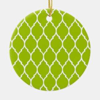 Lime Modern Quatrefoil Pattern Round Ceramic Decoration