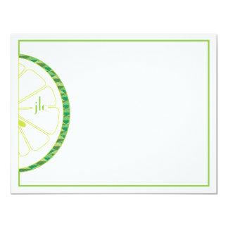 "Lime Monogram Flat Note Card 4.25"" X 5.5"" Invitation Card"