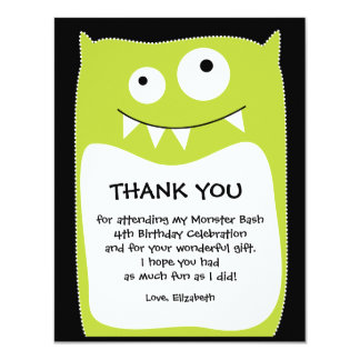 Lime Monster Bash Thank You Card (Flat) 11 Cm X 14 Cm Invitation Card